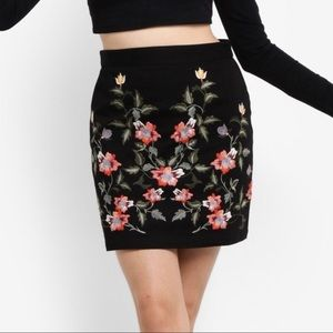 Topshop floral embroidered black canvas mini skirt